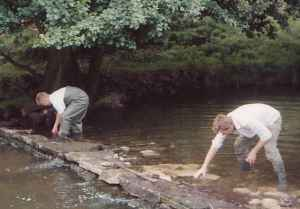 repairing weir on river dove